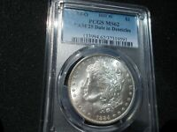 PCGS MORGAN 1884 O VAM 25 DATE IN DENTICLES MINT STATE 62, HOT 50