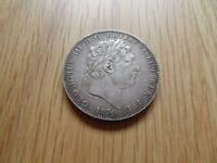 GEORGE III STERLING SILVER CROWN 1820 LX 5 /  NICE COIN GREA