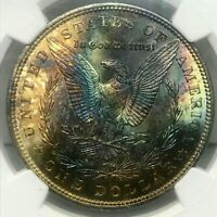 1896 MORGAN SILVER DOLLAR BU NGC MINT STATE 64STAR RAINBOW COLOR TONED IN HIGH GRADE