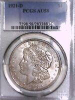 1921 D MORGAN DOLLAR PCGS AU 58 28338854