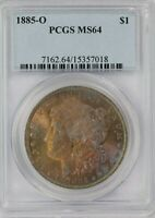 1885-O PCGS SILVER MORGAN DOLLAR MINT STATE 64 GORGEOUS COLOR TONED OBVERSE
