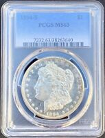 1894-S MORGAN SILVER DOLLAR PCGS MINT STATE 63LOOKS PL AND RKEY DATE