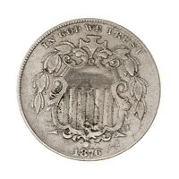 RAW 1876 SHIELD 5C UNCERTIFIED UNGRADED CIRCULATED US MINT NICKEL COIN