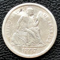 1867 S SEATED LIBERTY DIME 10C HIGH GRADE EXTRA FINE   DET.  20014