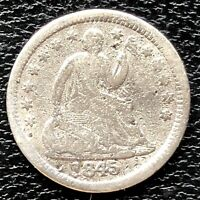 1845 SEATED LIBERTY HALF DIME 5C BETTER GRADE DAMAGED 20354