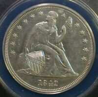 1842 SEATED LIBERTY SILVER DOLLAR ANACS AU 50 DETAILS CLEANING          SSTZKK
