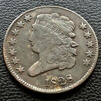 1828 CLASSIC HEAD HALF CENT 1/2 CENT HIGHER GRADE VF 20685