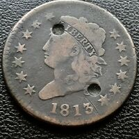 1813 LARGE CENT CLASSIC HEAD ONE CENT 1C  BETTER GRADE F DETAILS 20718