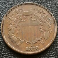 1870 TWO CENT PIECE 2C VF - EXTRA FINE   HIGHER GRADE  20734