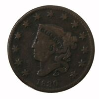 RAW 1830 CORONET HEAD 1C UNCERTIFIED US MINT COPPER LARGE CENT COIN