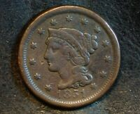 1851 BRAIDED HAIR LIBERTY HEAD LARGE CENT EARLY U.S. COPPER PENNY