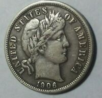 1906-D BARBER HEAD DIME EXTRA FINE  CONDITION