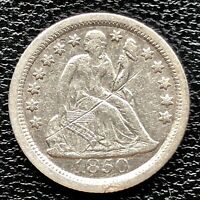 1850 O SEATED LIBERTY DIME 10C   EARLY DATE HIGH GRADE EXTRA FINE  DET. 20855