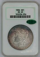 1886-P NGC SILVER MORGAN DOLLAR MINT STATE 65 CAC TONED GREEN LABEL NO LINE FATTY HOLDER