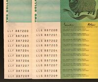 2 X IDENTICAL RUNS OF 10 X $2 NOTES    SAME NUMBERS    CONSE
