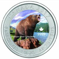 2017 CANADA GRIZZLY BEAR 1.50 OUNCE SILVER COLORIZED SERIES