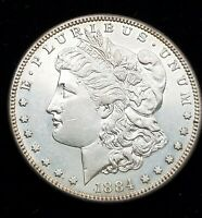 1884-S MORGAN SILVER DOLLAR. HIGH-END FLASHY AU WITH SOMEWHAT OF PROOFLIKE FIELD