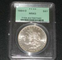 1884-O. MORGAN DOLLAR. PCGS MINT STATE 63. OLD GREEN HOLDER.  COIN.