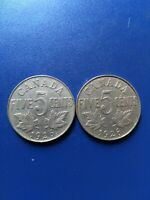 PAIR OF KEY DATE 1926 NEAR AND FAR 6 CANADIAN NICKEL  5C  NO