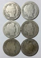 1902, 1903, 1905, 1907, 1912-S AND 1914-D 10C BARBER DIMES 90 SILVER