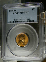 1940 D PCGS MINT STATE 67RD BRIGHT RED LINCOLN WHEAT CENT PLEASE CHECK MY OTHER ITEMS