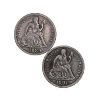 RAW 2 PACK 1889 1891 SEATED LIBERTY 10C