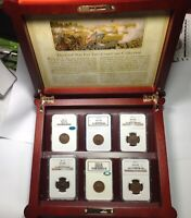 1864-1869 TWO CENT PIECE NGC MINT STATE 63 & MINT STATE 64 CIVAL WAR ERA COLLECTION BOX & CAC'S