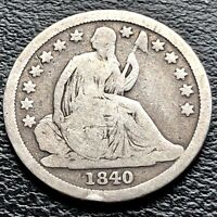 1840 SEATED LIBERTY DIME 10C BETTER GRADE 3585
