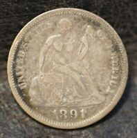 1891 SEATED LIBERTY DIME U.S. 90 SILVER COIN TYPE 4  LEGEND ON OBVERSE
