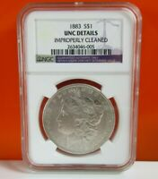 1883 $1 MORGAN SILVER DOLLAR NGC UNC DETAILS IMPROPERLY CLEANED