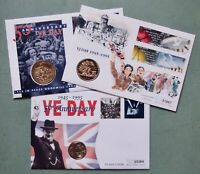 THREE COMMEMORATIVE COIN COVERS   VE & VJ DAY   GUERNSEY   G