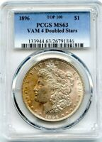 C11859- 1896 VAM-4 DOUBLED STARS TOP 100 MORGAN DOLLAR PCGS MINT STATE 63