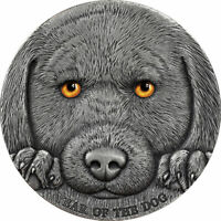 YEAR OF THE DOG 3 OZ ANTIQUE FINISH SILVER COIN 3000 FRANCS