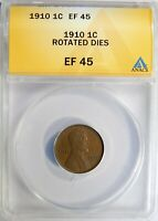 MINT ERROR 1910 P LINCOLN WHEAT CENT ROTATED DIES ANACS EXTRA FINE -45