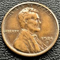 1924 S WHEAT CENT LINCOLN CENT 1C HIGH GRADE EXTRA FINE  - AU 21074