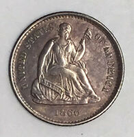 1860-O H10C SEATED LIBERTY HALF DIME AU