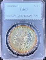 1885-O MORGAN SILVER DOLLAR PCGS MINT STATE 63 DUAL SIDED RAINBOW TONED RATTLER