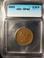 1853 BRAIDED HAIR HALF CENT VERY FINE DETAILS  GRADED US COI