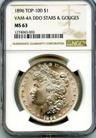 C11885- 1896 VAM-4A DDO STARS & GOUGES TOP 100 MORGAN DOLLAR NGC MINT STATE 63