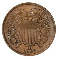 RAW 1865 TWO CENT 2C FANCY 5 UNCERTIFIED UNGRADED US MINT 2 CENT COPPER COIN