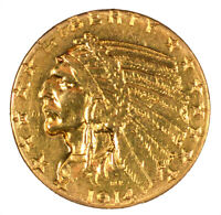 1914 S INDIAN HEAD GOLD HALF EAGLE $5 CLEANED