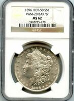 C12014- 1896 VAM-20 BAR 6 HOT 50 MORGAN DOLLAR NGC MINT STATE 62