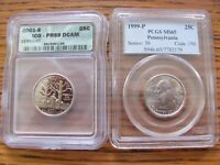 TWO CERTIFIED U.S. STATE 25 CENTS  1999 P PENN. & 2001 S VER