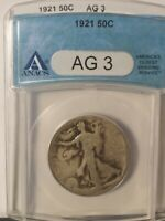 1921-P WALKING LIBERTY HALF DOLLAR GRADE AG-3 BY ANACS - LOW MINTAGE KEY DATE