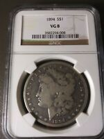 1894-P MORGAN SILVER DOLLAR VG-8 BY NGC   DATE, NO PROBLEMS MINTAGE 110,000