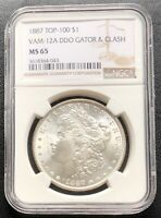 1887 MORGAN DOLLAR TOP 100 $1 VAM 12A NGC MINT STATE 65 SILVER 21431
