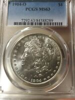1904-O MORGAN SILVER DOLLAR MINT STATE 63 BY PCGS BRIGHT WHITE