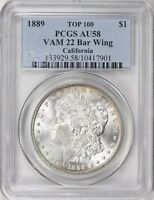 1889 MORGAN SILVER DOLLAR VAM-22 BAR WING PCGS AU-58 CALIFORNIA COLLECTION