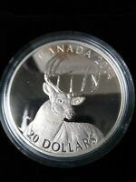 2014 WHITE TAILED DEER 'PORTRAIT' FINE SILVER $20 COIN NO RE