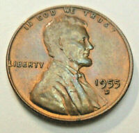 1955 D LINCOLN CENT / PENNY BU / MS RB - MINT STATE RED-BROWN  SHIPS FREE